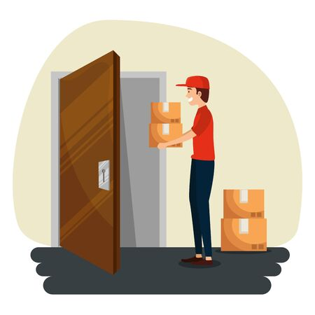 delivery man in the door giving out boxes packages to distribution service vector illustration