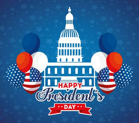 Capitol and balloons design, Usa happy presidents day united states america independence nation us country and national theme Vector illustration