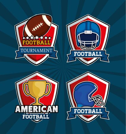 set of shields with icons of american football vector illustration design