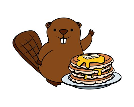 cute beaver mascot with sweet pancakes vector illustration design Ilustração