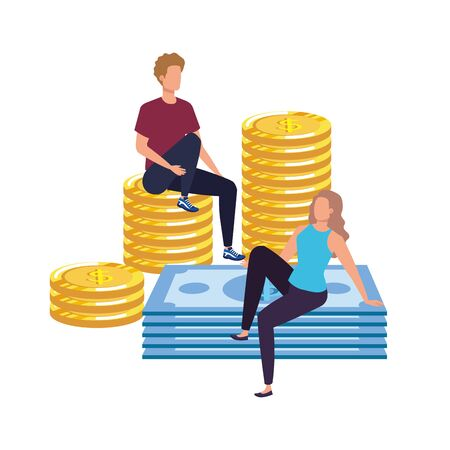 young couple with coins and bills vector illustration design Vettoriali