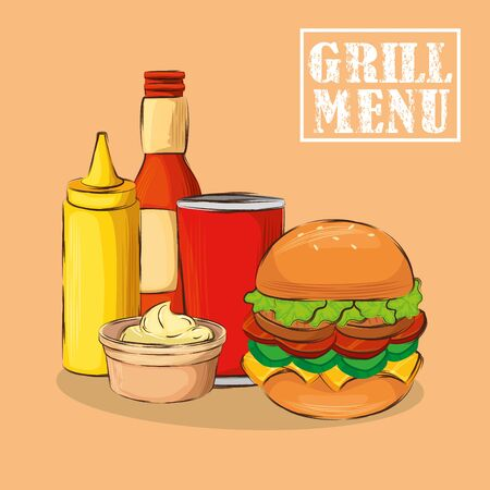grill menu with delicious hamburger vector illustration design