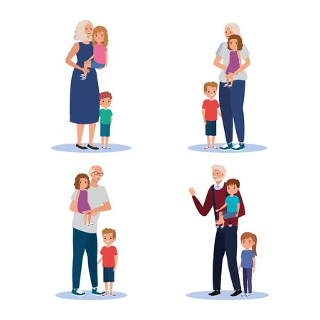 set of grandparents with theirs cute girls and boys children over white background, vector illlustration