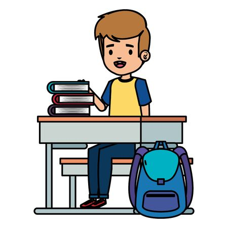 student boy seated in school desk with books and bag vector illustration design