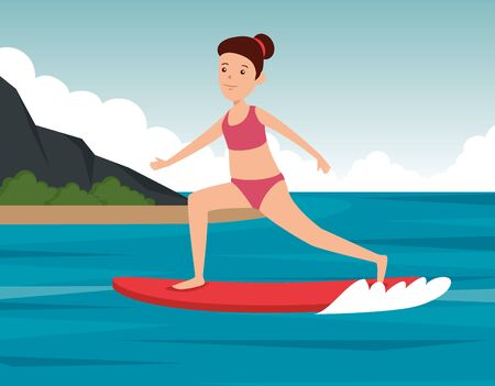 girl practice surfing activity in the landscape to summer sport vector illustration