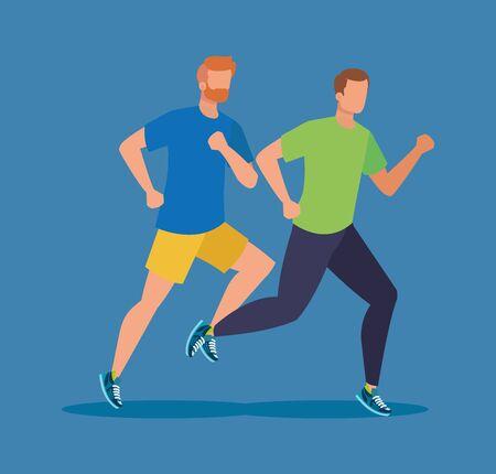 man training running sport activity over blue background, vector illustration