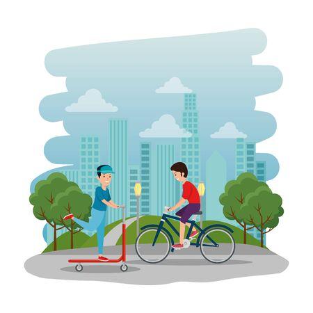 happy athletic boys ride bike and skateboard on the park vector illustration design