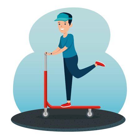 boy riding skateboard lifestyle activity to summer sport vector illustration