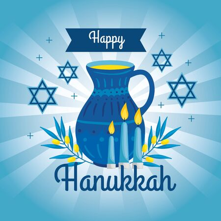 happy hanukkah with teapot and decoration vector illustration design Imagens - 139843259