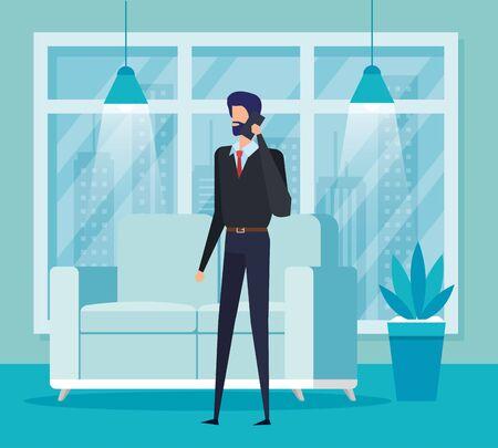 businessman worker calling with smartphone in the livingroom vector illustration Reklamní fotografie - 139847702