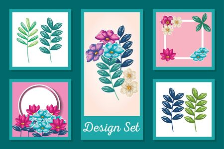 Tropical summer flowers and leaves set design, Natural floral nature plant ornament garden decoration and botany theme Vector illustration