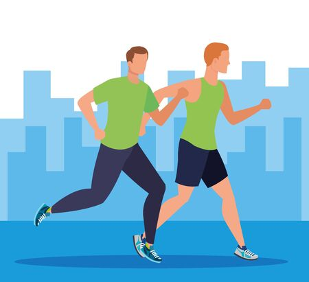men running activity and practice sport in the cityscape, vector illustration Ilustrace