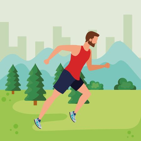 man running sport activity lifestyle with pines trees and bushes, vector illustration Ilustrace