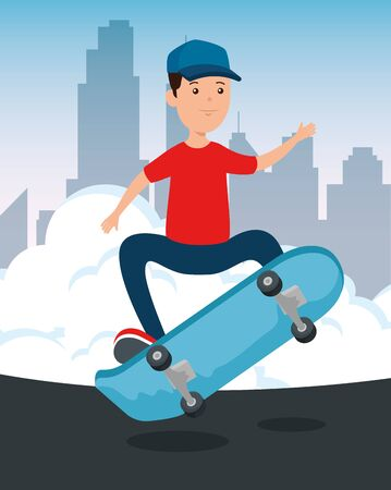 boy kid with casual clothes playing skateboard in the park and cityscape vector illustration 일러스트