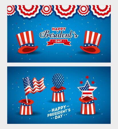 Hats flag balloon and star design, Usa happy presidents day united states america independence nation us country and national theme Vector illustration