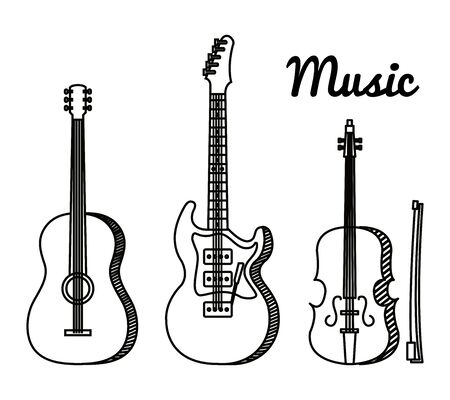 set of art guitars and violin instrument to music melody vector illustration