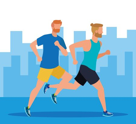 men practice sport and running activity in the cityscape, vector illustration