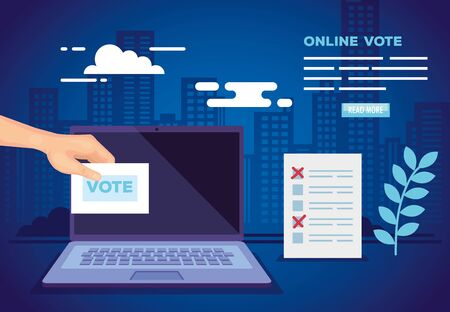poster of vote online with laptop and icons vector illustration design
