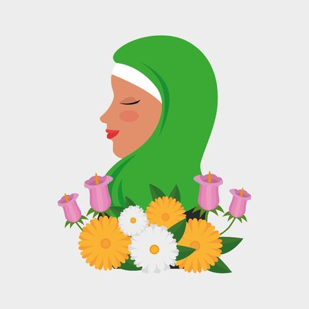 flowers and leaves design with happy woman to emirates womens day, vector illustration