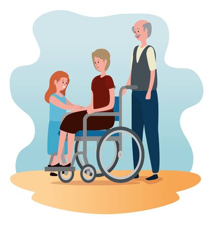 old woman in the wheelchair and man with their granddaughter to family together, vector illustration Banco de Imagens - 139800803