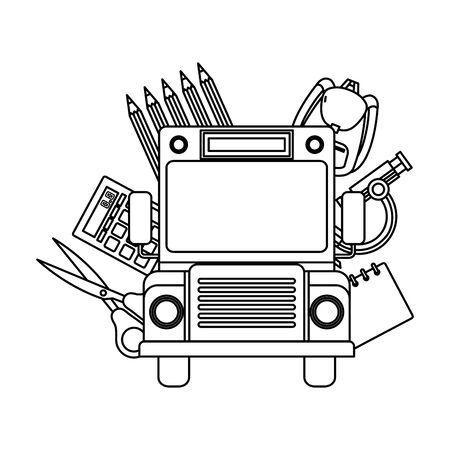 Transporte en autobús escolar con iconos de educación, diseño de ilustraciones vectoriales
