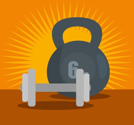 dumbbell and weight to training exercise activity over orange background, vector illustration
