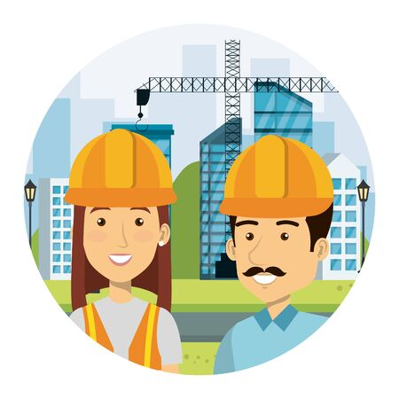 couple of builders constructors on workside characters vector illustration design