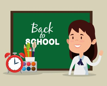 girl with watercolor and clock alarm with pen and pencils to back to school vector illustration
