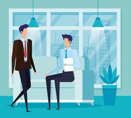 elegant businessmen workers in livingroom vector illustration design