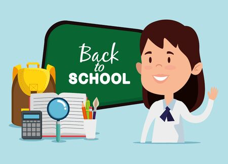 girl with blackboard and backpack with magnifying glass to back to school vector illustration Ilustração