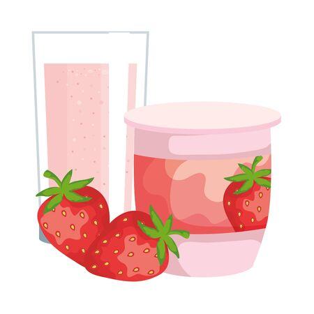 strawberry fruit yogurt fresh with glass vector illustration design