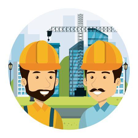 builders constructors on workside characters vector illustration design