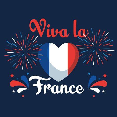 heart france flag with fireworks decoration to bastille celebration vector illustration