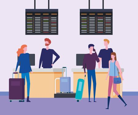 women and men with baggages in the waiting room to travel service, vector illustration
