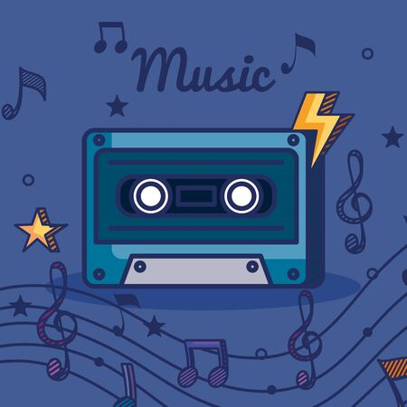 cassette with treble clef and quaver with beam notes to music melody vector illustration
