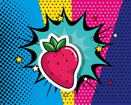 delicious strawberry with explosion pop art style icon vector illustration design