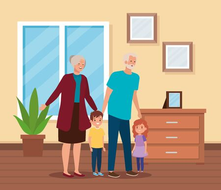 grandparents with their cute boy and girl kids in the home, vector illustration