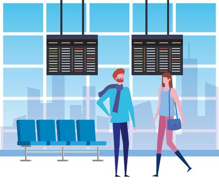 man and woman in the waiting room with chairs and screens trip to travel service, vector illustration