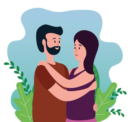 cute woman and man in love couple with hairstyle and plants leaves, vector illustration Banco de Imagens - 139948683