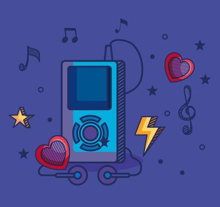 mp4 with treble clef and quaver with beam notes and hearts to music melody vector illustration