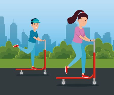 boy and girl riding skateboard exercise to summer sport vector illustration Ilustrace