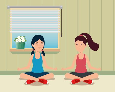 girls training yoga healthy exercise in the home vector illustration Ilustrace