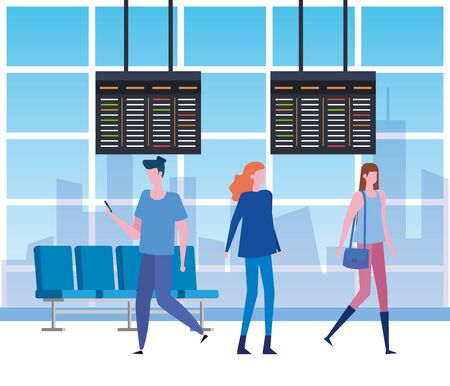 man and women with casual clothes in the waiting room to travel service, vector illustration