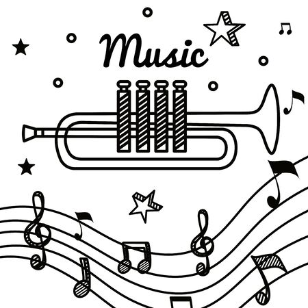 trumpet instrument with treble clef and quaver with beam notes to music melody vector illustration