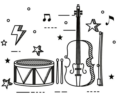 drum and violin instruments with quaver and beam notes to music melody vector illustration