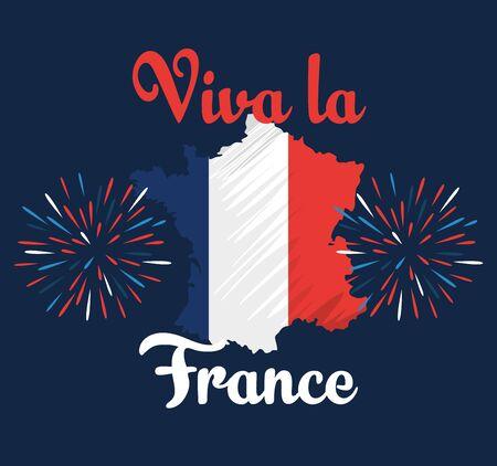 france map with fireworks to happy bastille on july 14 vector illustration Ilustracja