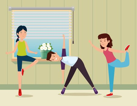 boy and girls practice yoga activity in the home to summer sport vector illustration