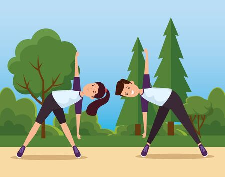 boy and girl training yoga exercise activity to summer sport vector illustration