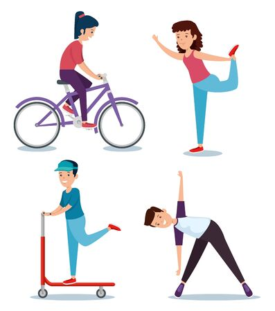 set of girls and boys practice sport activity over white background vector illustration