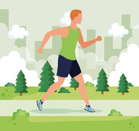 man trotting activity sport training with pines trees and bushes, vector illustration